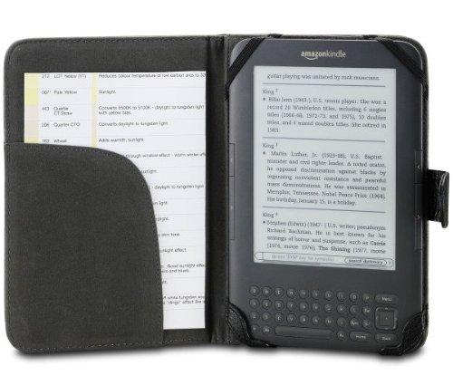 Axstyle 高品質 スリムレザーケース High Quality Slim leather case for Amazon Kindle3 収納ポケット付 ブラック Amazon限定 オリジナルモデル