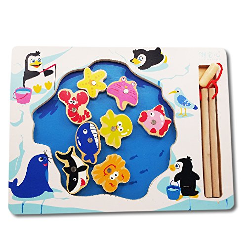 Fun Fishing Game | Adorable Colorful 8pcs Toy Fish and 2 Wooden Magnetic Toys Hook Fishing Rod with Penguin Board | Educational Game for Motor Skill and Eye-Hand Coordination (Magnetic Fishing Fun compare prices)