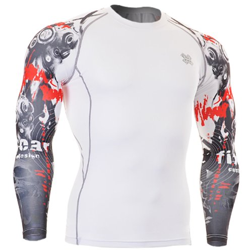 Fixgear Sports Mens Womens Running Compression White Base Layer Tee Shirt