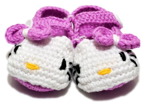 Besto Baby Handmade Knit Crib Crochet Hello Kitty Baby Infant Shoes Sock 0-12M In Purple front-1077081