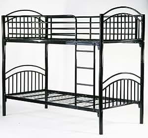 パイプ二段ベッド 2段ベッド パイプ シングル スチール A ブラック