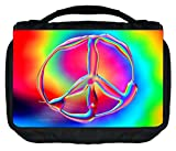 Tie Dye Peace Symbol Print Design TM Small Travel Sized Hanging Cosmetic/Toiletry Case with 3 Compartments and Detachable Hanger-Made in the U.S.A.