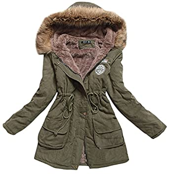 Amazon.com: Ace Women's Cotton-padded Long Winter Coats