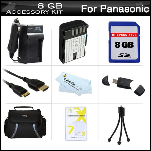 8Gb Accessories Kit For Panasonic Lumix Dmc-Gh3K, Dmc-Gh3, Dmc-Gh4, Dmc-Gh4K Digital Camera Includes 8Gb High Speed Sd Memory Card + Extended Replacement (2100Mah) Dmw-Blf19E Battery + Ac/Dc Travel Charger + Mini Hdmi Cable + Usb Reader + Case + More