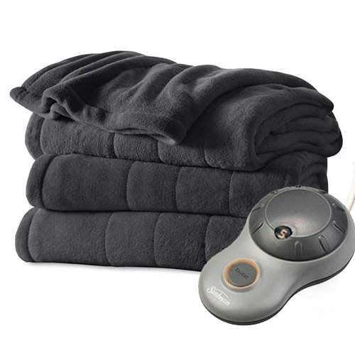 Sunbeam Heated Electric Blanket Channeled Microplush Twin Size Slate Grey (Sunbeam Heated Electric Blanket compare prices)