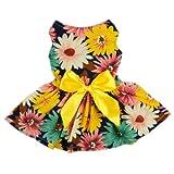 Fitwarm® Pet Elegant Floral Ribbon Dog Dress Shirt Vest Sundress Clothes Apparel, X-small