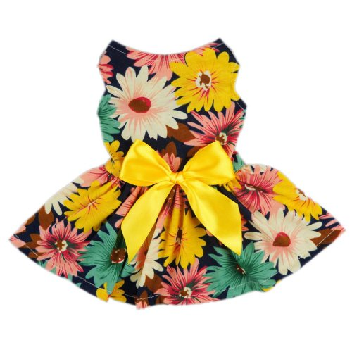 Fitwarm-Pet-Elegant-Floral-Ribbon-Dog-Dress-Shirt-Vest-Sundress-Clothes-Apparel