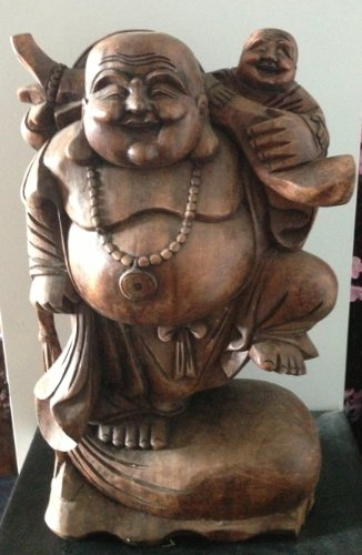 Solid Wooden Hand-Carved Happy Lucky Laughing Buddha Garden Ornament Sculpture.