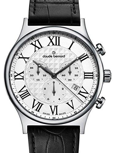 Claude Bernard Men'S 10217 3 Ar Classic Dress Chronograph Analog Display Swiss Quartz Black Watch