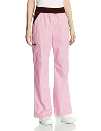 Cherokee Women's Scrubs Flexibles Mid-Rise Contrast Waist Pull-On Pant, Pink Blush, X-Small