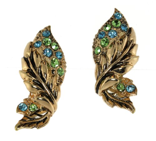 Vintage Gold-Tone Leaf With Crystals Clip-On Earrings - Blue/Green