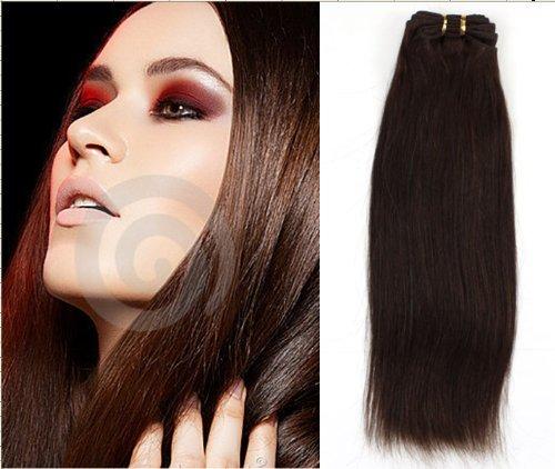 30cm 100%Prolongation de cheveux humains cheveux faisceau de trame remy cheveux raides 100g #2- brun le plus foncé