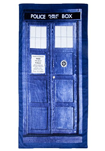 "Licensed Doctor Who Tardis Phone Booth Bath Beach Towel 59""x29.5"" BBC DW"