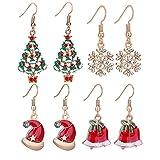 Zhenhui Happy Gold Tone Christmas Tree Earrings Set Colorful Xmas Tree Santa Missing Hat Rhinestone Snowflake Jingle Bells Charm Holiday Gift Pack of 4 Pairs