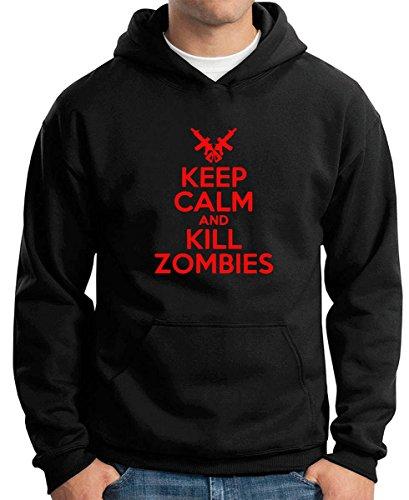 Cotton Island - Felpa Hoodie TZOM0043 keep calm and kill zombies white, Taglia XXL