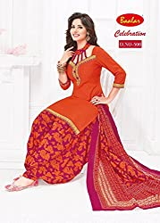 Taos Brand cotton dress materials for women womens dress materials cotton salwar suit New Arrival latest 2016 womens party wear Unstitched dress materials for women (bal506 summer__multicolour and orange_freesize