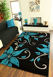 Havana 914 Black and Teal Flower Rug 5 Sizes Available from The Rug House