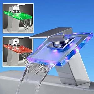 amzdeal® LED Robinet de salle de bain -changer la couleur d'après la température d'eau - Vert / Rouge / Bleu / Rouge fréquent (pas compris les piles)