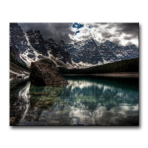 Wall Art Painting Snow-Capped Mountains Covered With Snow Large Stones Forest Dark Clouds Moraine Lake Canada Pictures Prints On Canvas City The Picture Decor Oil For Home Modern Decoration Print