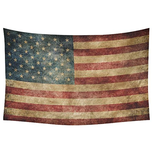 InterestPrint Stars and Stripes USA Flag Wall Art Home Decor, Vintage Retro American Flag Background Bule Red Cotton Linen Tapestry Wall Hanging Art Sets 60 X 90 Inches (Vintage Flag compare prices)