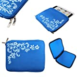 CaseGuru Universal 10 Inch Summer Time Bouvardia Floral Sleeve Pouch Case Cover Protection Suitable for Nook HD+, Samsung Galaxy Note N8000, Samsung Galaxy Tab 2 P5100, Acer Iconia A200, Kindle Fire HD 8.9, Google Nexus 10 (Blue)