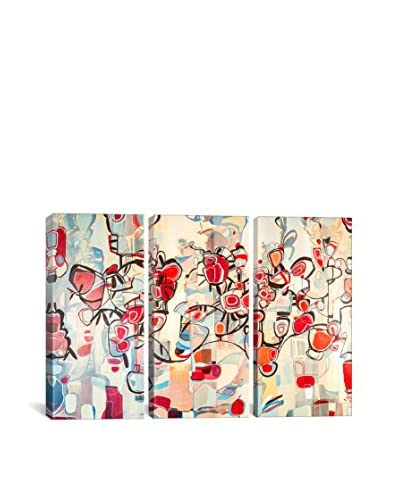 Rebecca Moy Ruby Blossoms Gallery Wrapped Canvas Print, Triptych