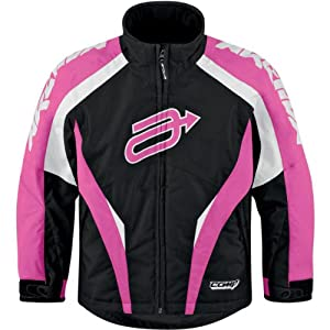 Arctiva Youth Comp 7 Jacket , Size Segment: Youth, Distinct Name: Black/Pink, Primary Color: Black, Size: 14, Gender: Girls 3122-0228