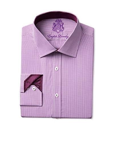 English Laundry Men's Micro Check Dress Shirt