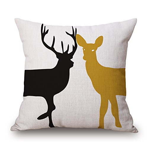 Uloveme Deer Cushion Cases 18 X 18 Inches / 45 By 45 Cm Gift Or Decor For Wife,him,bedroom,teens Girls,indoor,valentine - Twin Sides