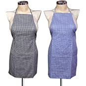Yellow Weaves Waterproof Cotton Kitchen Multi Apron With Front Pocket - Set Of 2