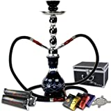 """GSTAR Starter Series: 18"""" 2 Hose Hookah Combo Kit Set w/ NeverXhale Charcoal, Hydro Herbal Molasses, and Screen (Diamond Etched Black)"""