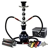 "NeverXhale Starter Series: 18"" 2 Hose Hookah Combo Kit Set w/ NeverXhale Charcoal, Hydro Herbal Molasses, and Screen (Diamond Etched Black)"