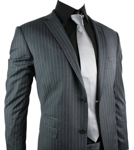 Mens Fitted Navy Pin Stripe 2 Button Suit Stitch Design Work Party Wedding