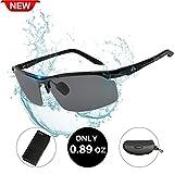 HODGSON Polarized Sunglasses for Men or Women, Unbreakable Al-Mg Metal Driving Glasses-BlackBlack/Gray