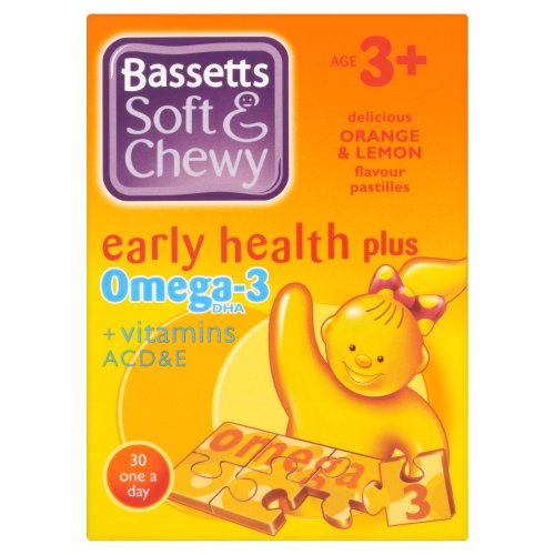 Bassett's Soft & Chewy Early Health Plus Omega-3  +Vitamins ACD&E - Orange & Lemon Flavour 30 Pastilles