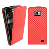 Kwmobile® Flip style carbon leather case for Samsung Galaxy S2 i9100 with convenient magnetic fastener in Red