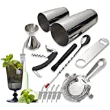 Tiger Chef 14-piece Stainless Steel Bar Set and Cocktail Making Set Includes Bar Tools and Accessories (14 Piece Set)