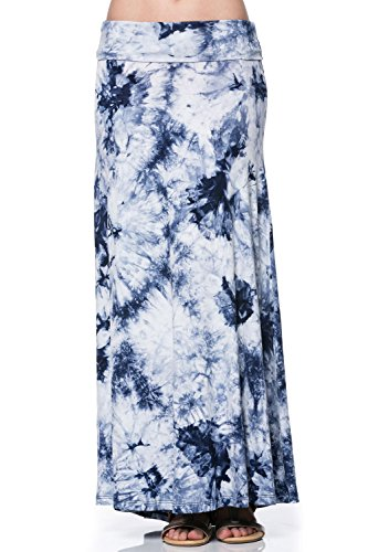 Womens Spandex Tie Dye Maxi Long Skirts Navy Denim Medium