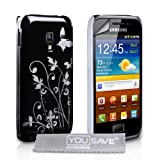 Yousave Accessories Butterfly Floral Hard Hybrid Cover with Screen Protector for Samsung Galaxy Ace Plus - Black