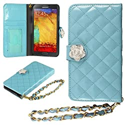 HHI Samsung Galaxy Note 3 Quilted Purse Wallet Case BLUE with Crystal Flower Bling and Hand Strap (Package include a HandHelditems Sketch Stylus Pen)