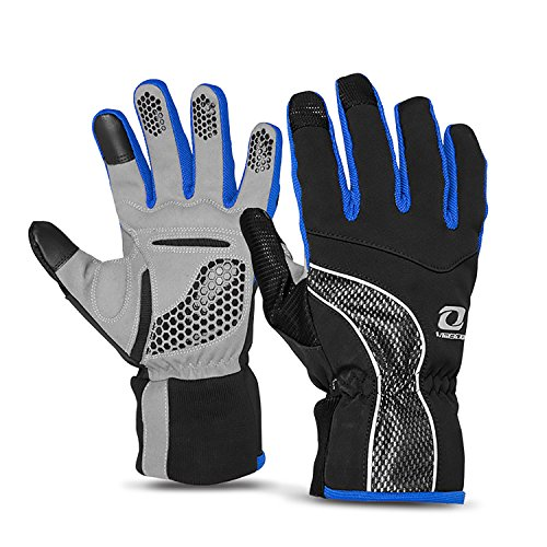 4ucycling Touch-screen Windproof Thermal Multifunction Warm Gloves for Outdoor Cycling Camping Jogging - black Blue 6058-L