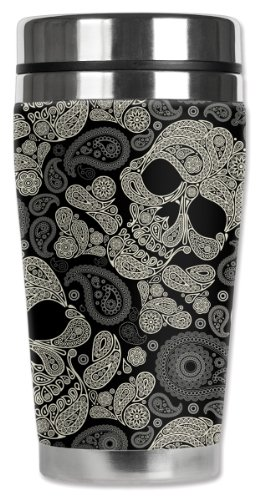Mugzie Paisley Skulls Travel Mug with Insulated Wetsuit Cover, 16 oz, Black (Paisley Coffee Mug compare prices)