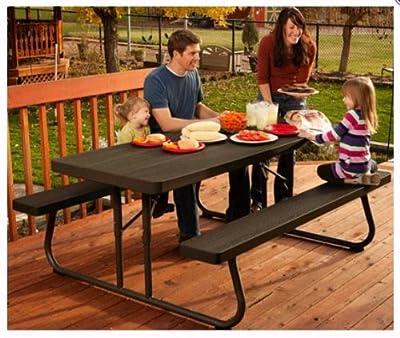 Lifetime 60112 Commercial Grade 6' Picnic Table ~ Faux Wood Color Seats 8
