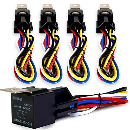 Genssi 30/40 AMP Relay and Wire Harness Spdt 12V 40A (Pack of 5) (Actuator Wire Harness compare prices)