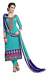 Krishna Emporia Women's Cotton Dress Material (Embroidered Dress 106_Turquoise)