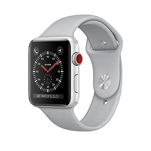 Apple Watch Series3 シルバーアルミニウムケースとフォッグスポーツバンド
