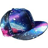DUSTSTROKE 2カラー ユニセックス スペース ギャラクシー 宇宙 スナップバック キャップ 帽子 ストリート カジュアル ロック パンク メンズ レディース (ブルー)