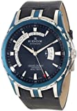 Edox Men's 83006 357B BUIN Grand Ocean Automatic Blue Sapphire Crystal Exhibition Window Day-Date Blue Leather Watch