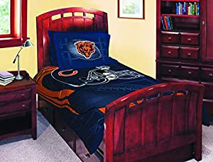 Twin full size navy blue and orange chicago - Navy blue and orange bedding ...