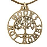 Books Not Bombs Tree of Life Peace Bronze Pendant Necklace on Adjustable Natural Fiber Cord